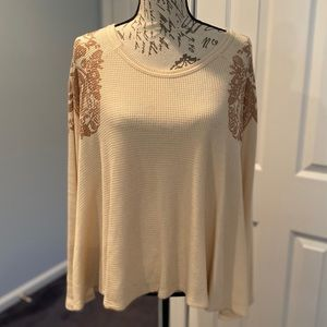 Free People Ivory Thermal Boxy Flare Top S EUC
